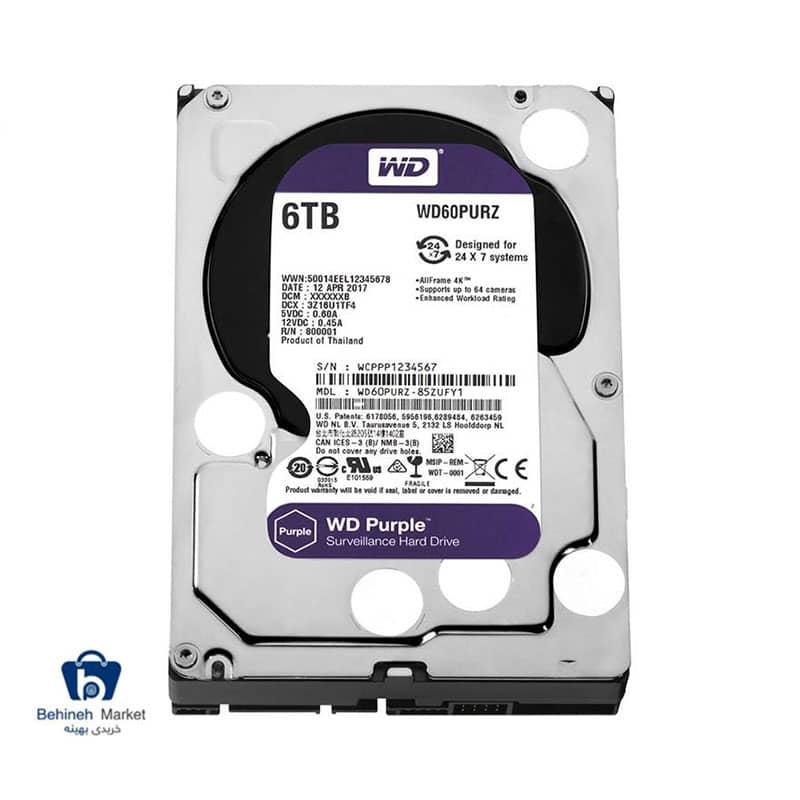 مشخصات،قیمت و خرید هارد اینترنال وسترن دیجیتال 6TB Purple